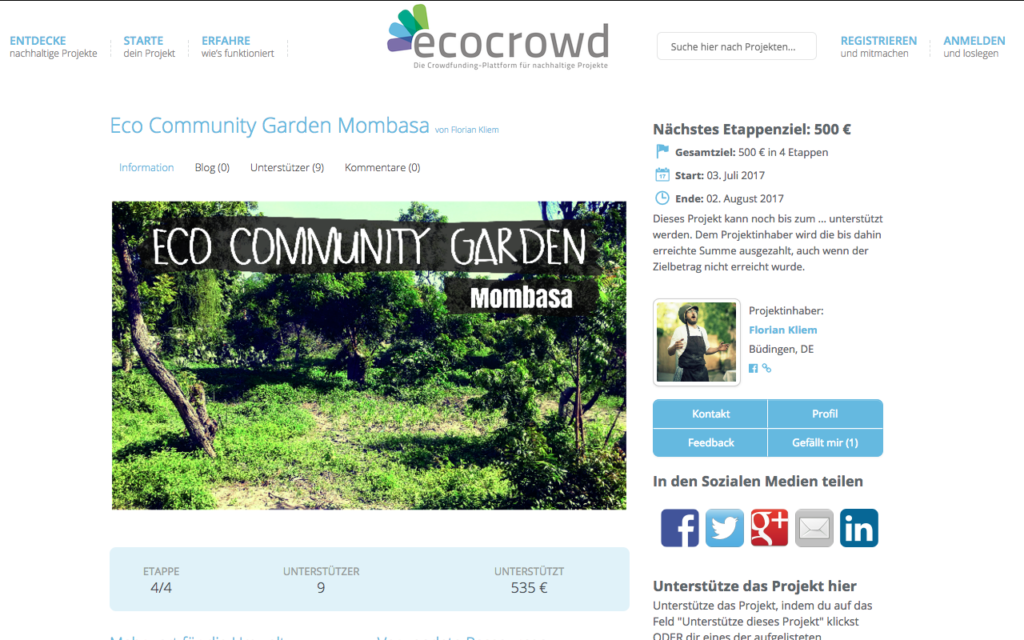 Crowdfunding-Projekt bei EcoCrowd