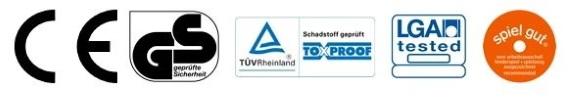 Siegel Kinderspielzeug CE, GS, TÜV Rheinland, LGA tested, spiel gut, ToxProof