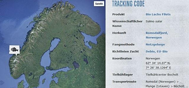 Dank Tracking-Code zeigt Followfish, wo der Lachs herkommt