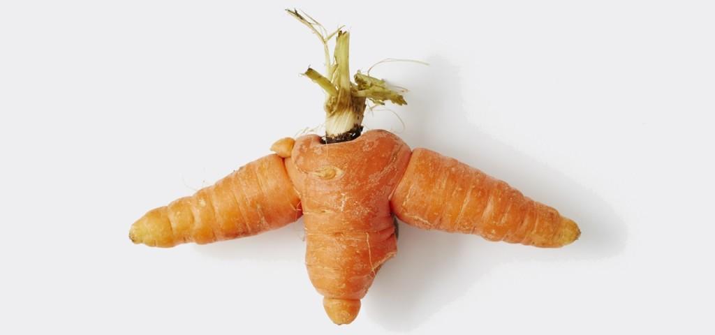 Lustig, aber verschmäht: Karotte mit drei Enden