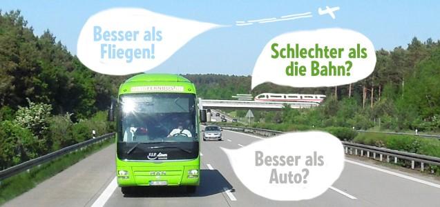 Fernbus Vergleich Auto Bus Bahn Flugzeug öko