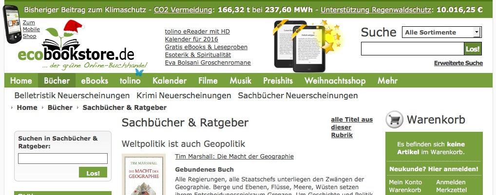 Bücher online kaufen: Ecobookstore.de integriert den eReader Tolino