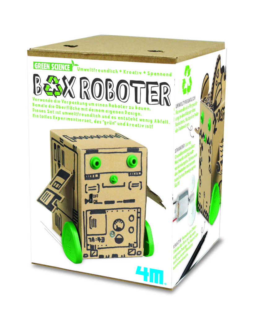 Bringt Upcycling-Ideen ins Spiel: der Box-Roboter