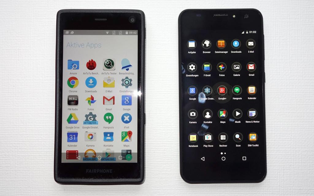 Fairphone 2 (li.) und Shiftphone 5.1 (re.) im Größenvergleich