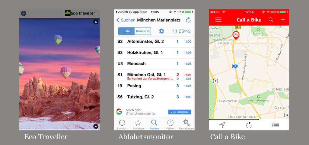 Die besten Apps: Eco-Traveller, Abfahrtsmonitor, Call-a-Bike