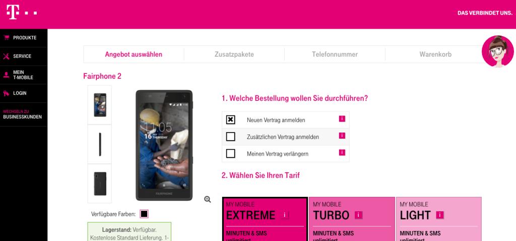 Sähen wir auch bei uns gern: das Fairphone mit Vertrag bei T-Mobile (hier im Shop von T-Mobile Austria)