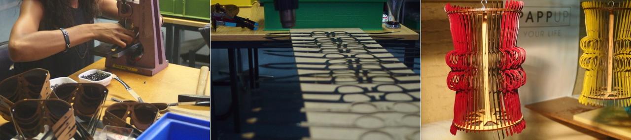 In Berlin werden die Sonnenbrillen aus Pappe aus 16 Einzelteilen zusammengebaut.