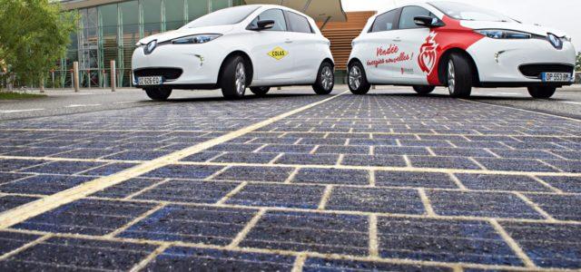 Solarstrasse Solarzellen Strassen Solarteppich