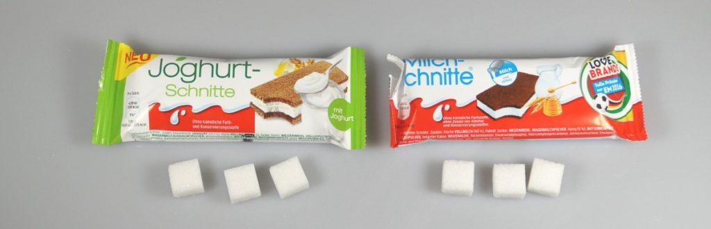 Greenwashing: Vergleich Joghurtschnitte und Milchschnitte, Zucker
