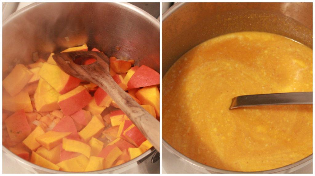 Kürbissuppe: erst weich kochen, dann pürieren