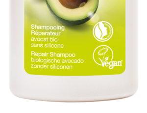 Die Veganblume der Vegan Society auf einem Shampoo