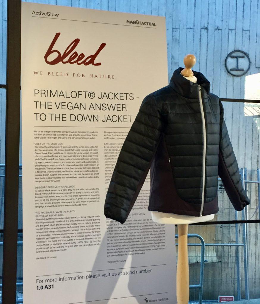 Ethical Fashion Show Berlin 2017: vegane Daunenjacke von bleed