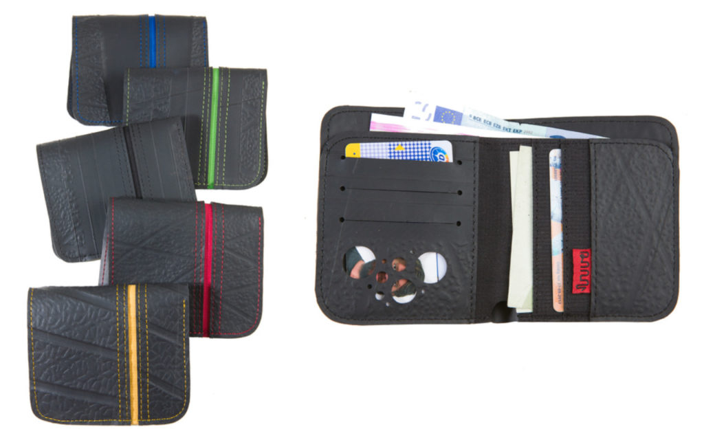 Upcycling-Geldbörse: Portemonnaie aus recyceltem Reifenschlauch von Sapu