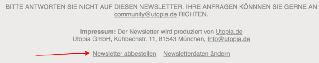 Utopia-Newsletter abbestellen