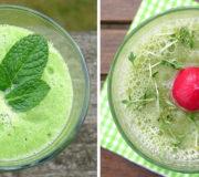 Grüne Smoothie Rezepte aus dem Mixer mit Gurke, Minze, Spinat und Kohlrabi