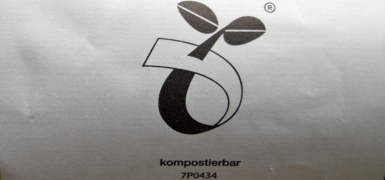 "Keimling-Logo: ""kompostierbar"""