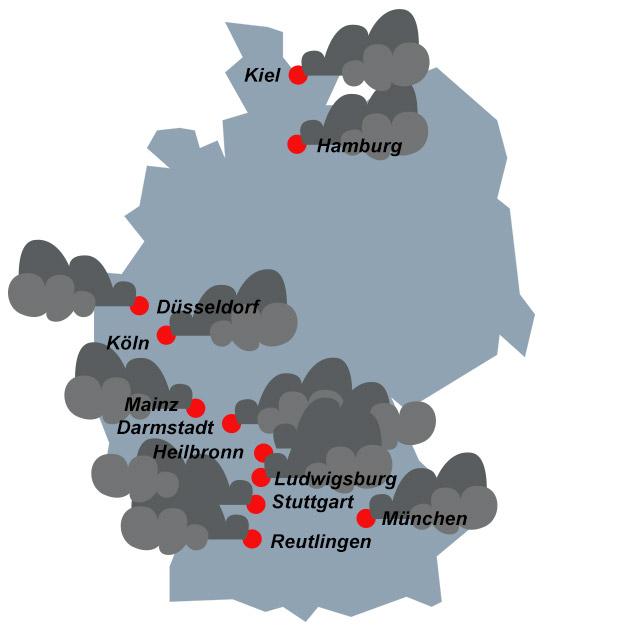 Luftqualität: Stickstoffdioxid-Belastung in Deutschland (exemplarisch)