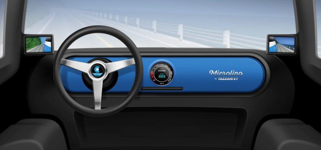 Microlino Cockpit mit kreisrundem Touchscreen