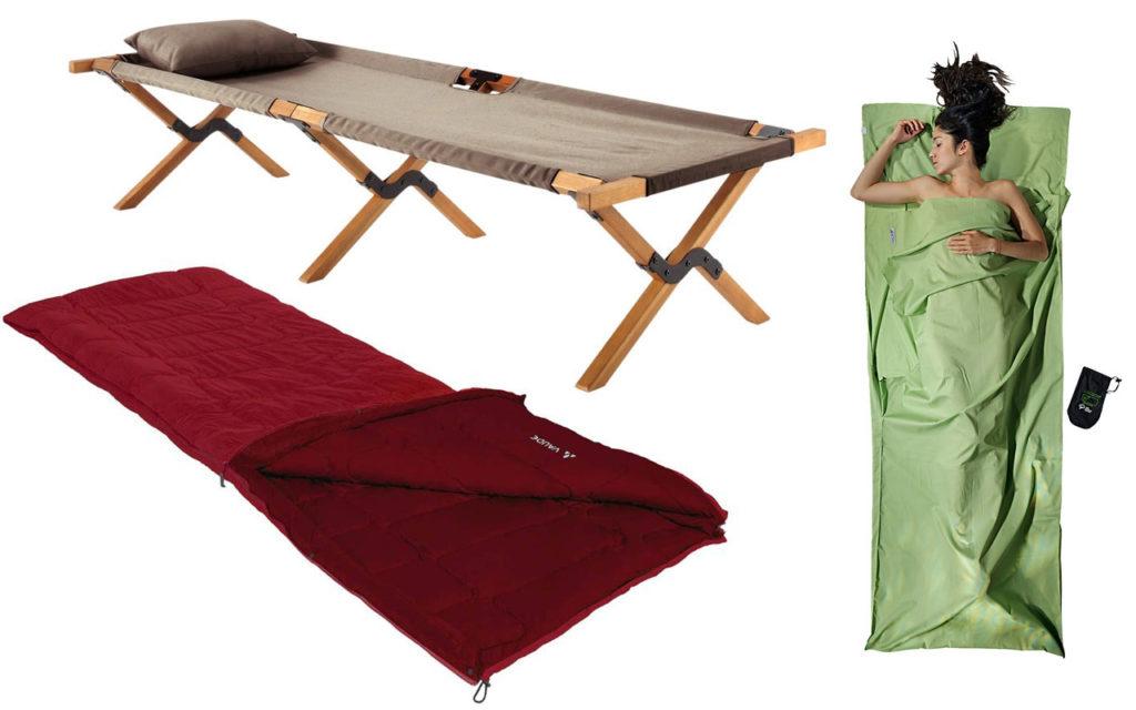 Outdoor-Zubehör: Feldbett von Maisons du Monde, Hüttenschlafsack von Cocoon, Schlafsack von Vaude