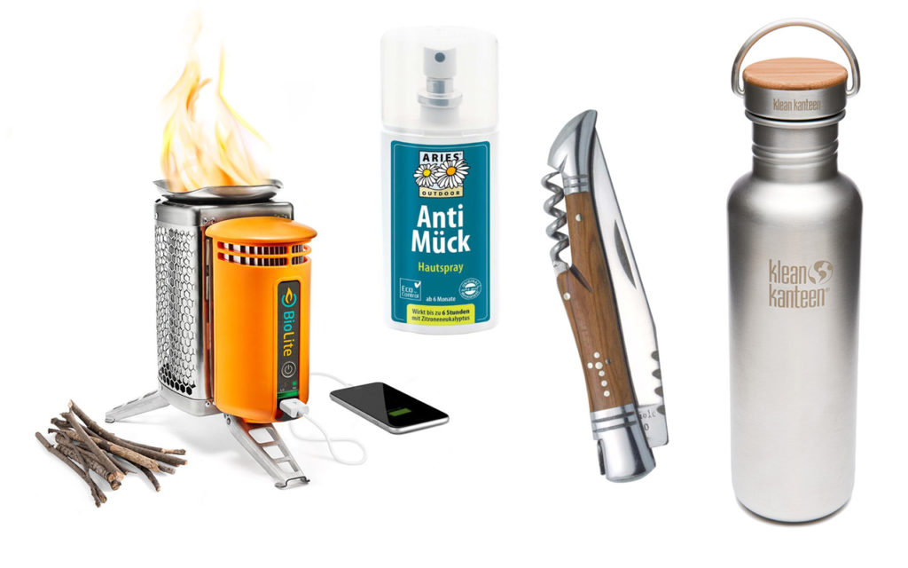 Outdoor-Zubehör: BioLite CampStove, Aries Anti Mück, Laguiole Messer, Klean Kanteen Flasche