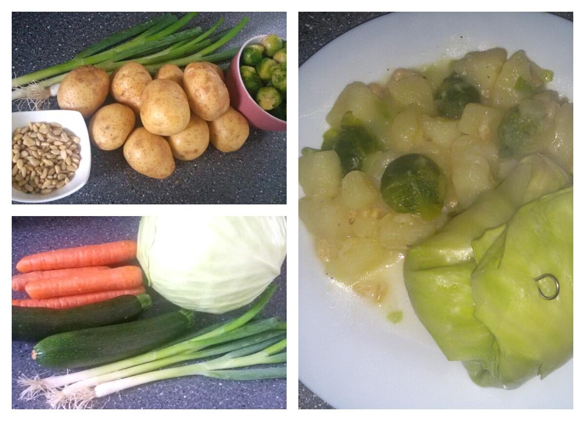 Vegane Kohlrouladen mit einer Kartoffel-Rosenkohl-Pfanne als festliches Hauptgericht