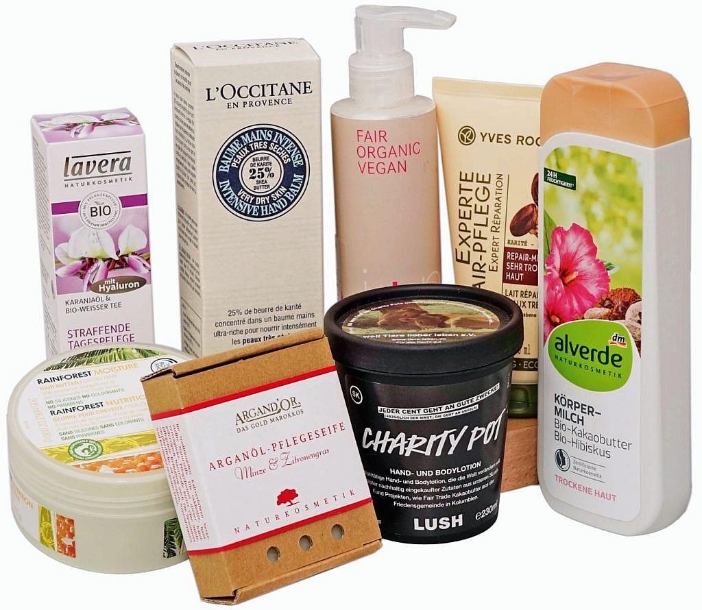 Kosmetik mit Hinweis auf fair gehandelte Zutaten