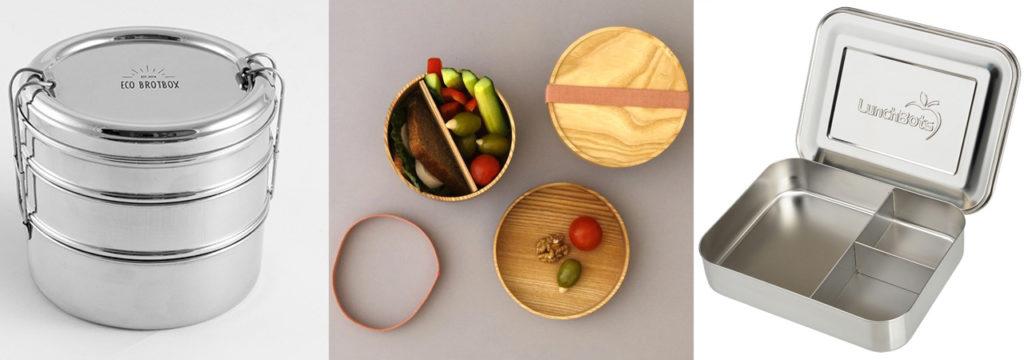 Wiederverwendbare Brotdosen aus Edelstahl und Holz