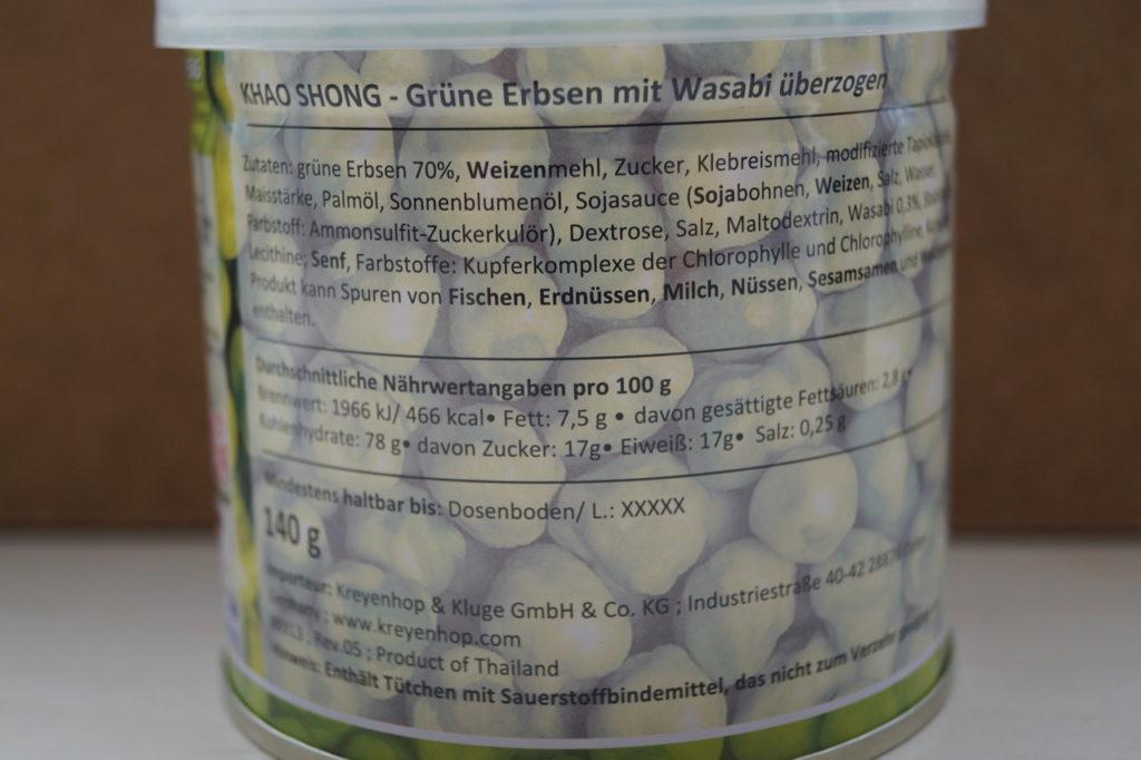 E-Nummern Zusatzstoffe E150D Wasabi Erbsen