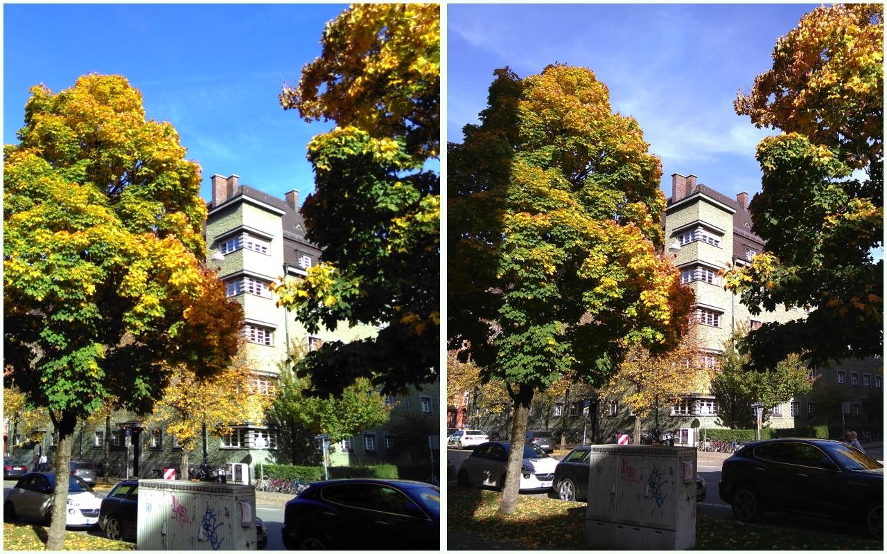 Fairphone 2 –neues Kameramodul: links ein Foto der alten Kamera, rechts ein Bild mit der neuen Kamera (etwa 15 Minuten später).