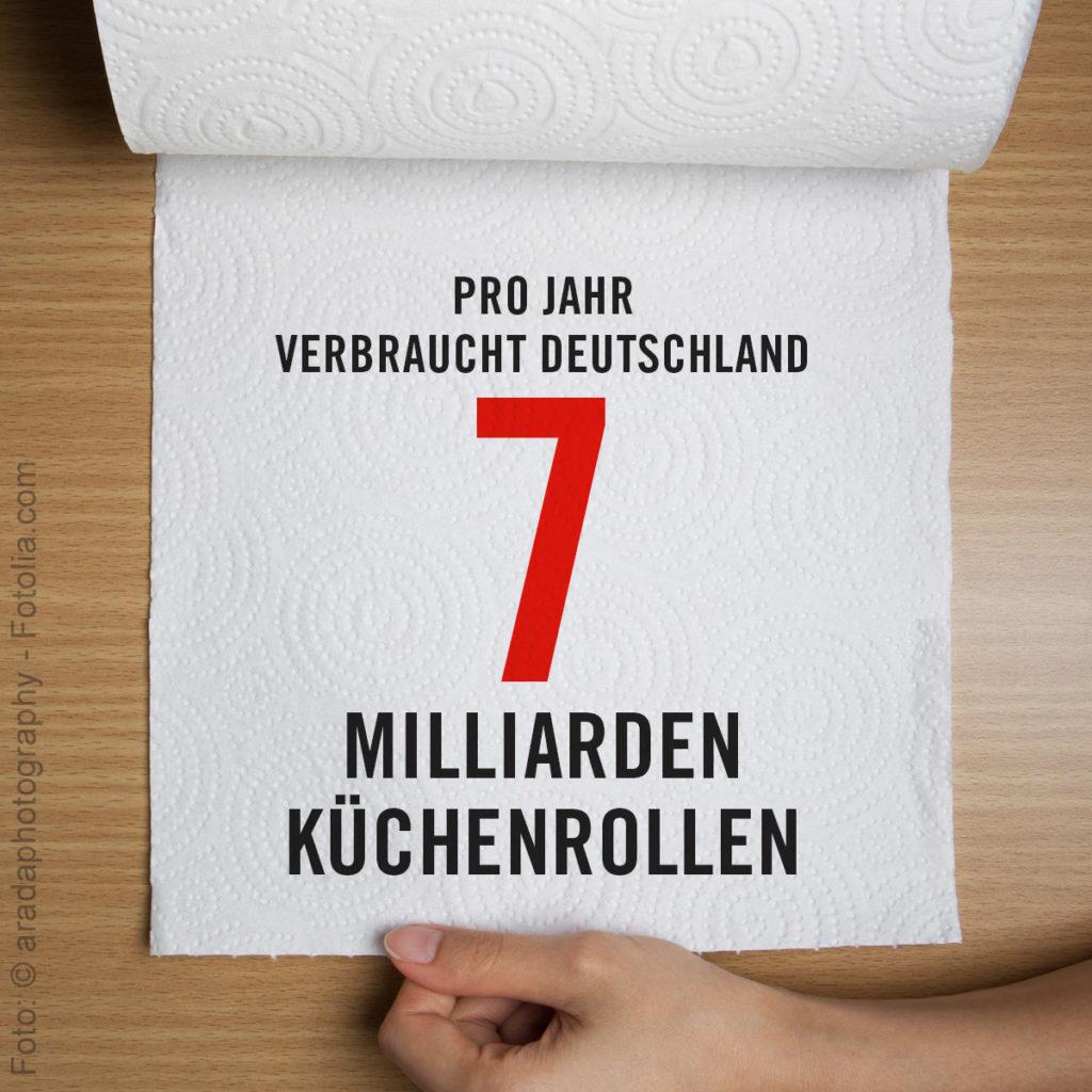 7 Milliarden Küchenrollen verbraucht Deutschland pro Jahr