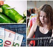 Nachhaltig mit kleinem Geldbeutel, Geld in Hosentasche, Frau Second Hand, Zucchini schneiden