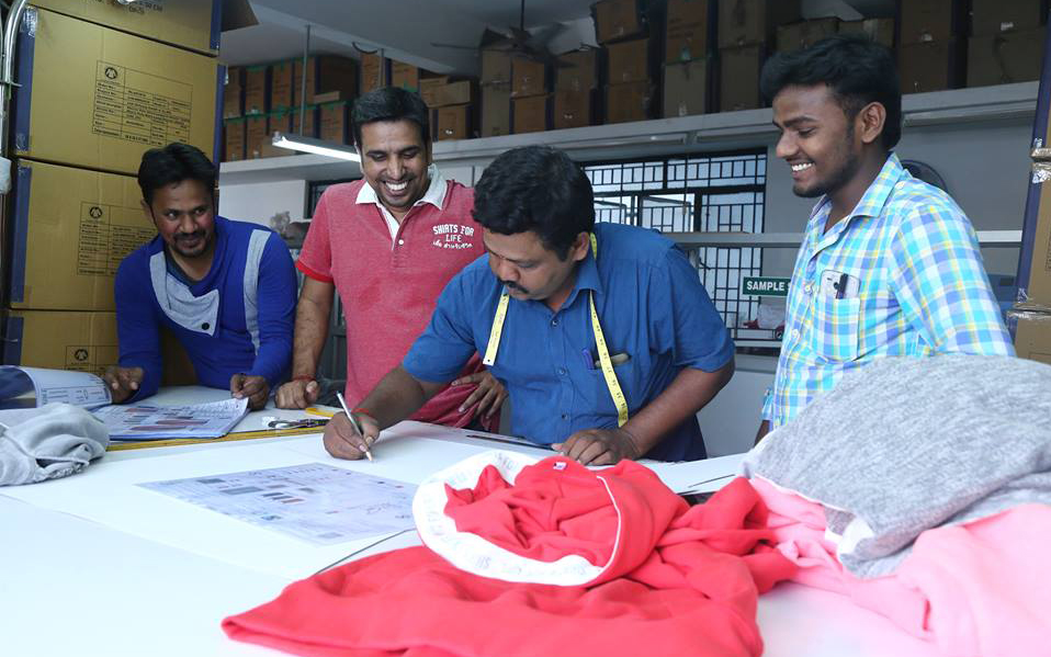 Produktion Shirts for Life in Indien