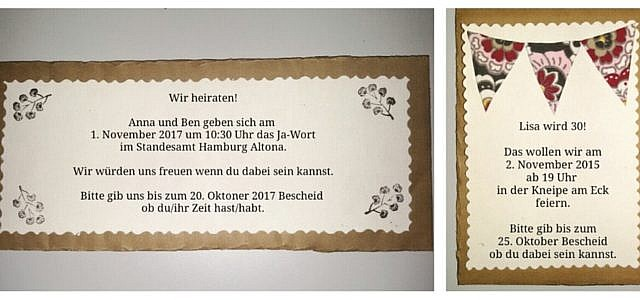 Einladung, Karte