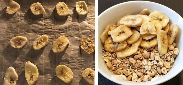 Selbstgemachte Bananenchips –prima im Müsli