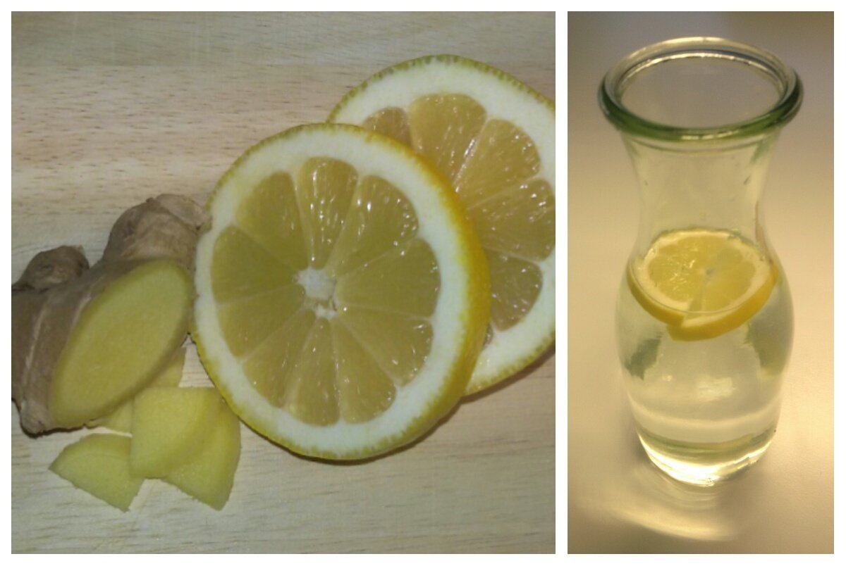 Spritzig frisch ist das Wasser mit Zitrone und frischem Ingwer.