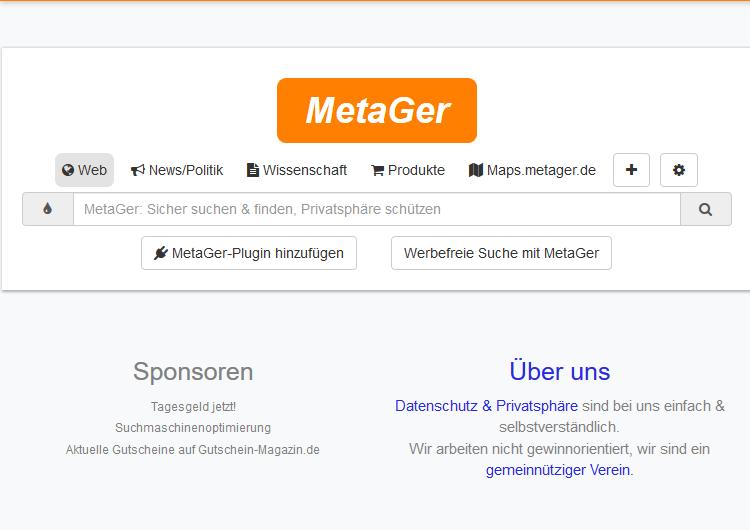 Statt Google und Bing: Suchmaschine Metager