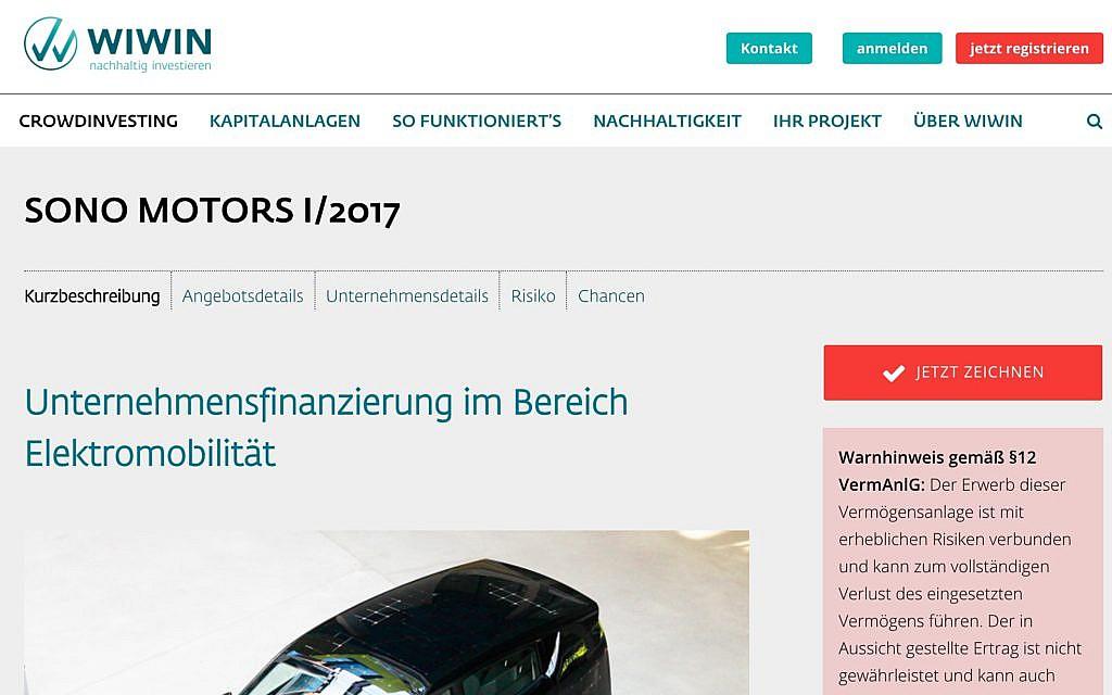Über die Crowdinvestment-Plattform Wiwin.de finanzierte sich u.a. das Solarauto Sono Motors Sion