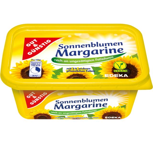 gut g nstig sonnenblumenmargarine margarine ohne palm l. Black Bedroom Furniture Sets. Home Design Ideas