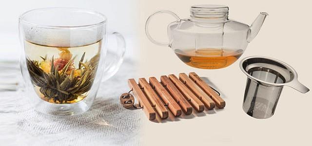 Nachhaltiges Tee Zubehör: Kanne, Glas, Untersetzer, Filter