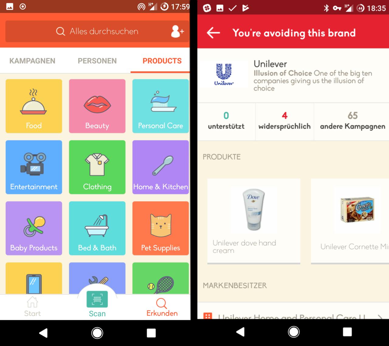 """Konzerne hinter den Produkten entlarven - mit der kostenlosen App """"Buycott""""."""
