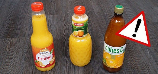 Öko-Test Orangensaft Granini, Valensina, Hohes C