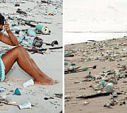 Facebook-Post: Plastikverschmutzung am Strand in Bali