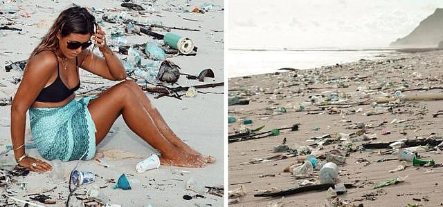 Plastikverschmutzung am Strand in Bali