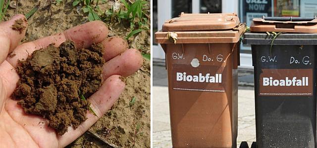 Kompost Erde Plastik Biomüll Biotonne