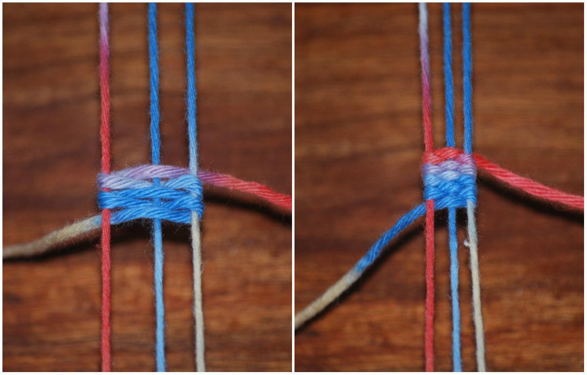 Je nachdem wie breit dein Band sein soll, ziehst du die Fäden zusammen.