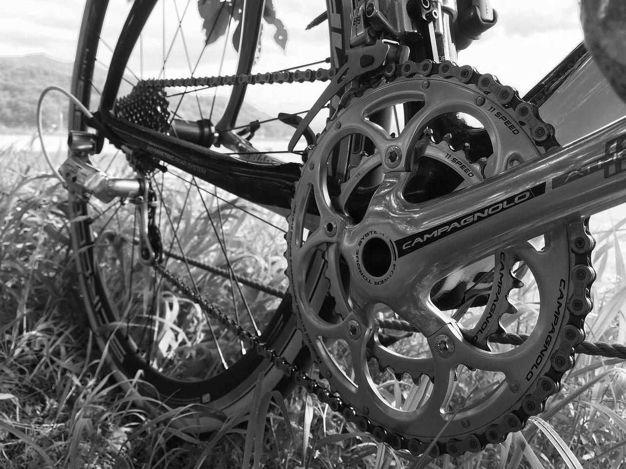 Das Öl sorgt für ein reibungsloses Ineinandergreifen von Fahrradkette und Kettenblatt (vorne) und Zahnkranz (hinten).