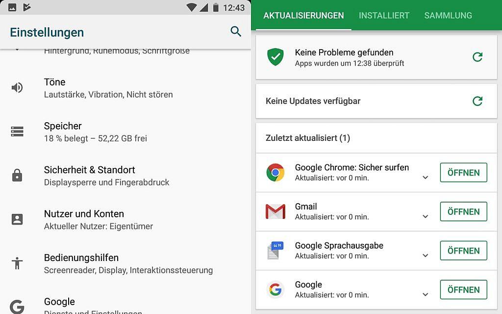 Das Shift6m kommt mit Android 8.0, nur wichtigen Apps ohne Schrott und daher reichlich 52 GByte freiem Speicher