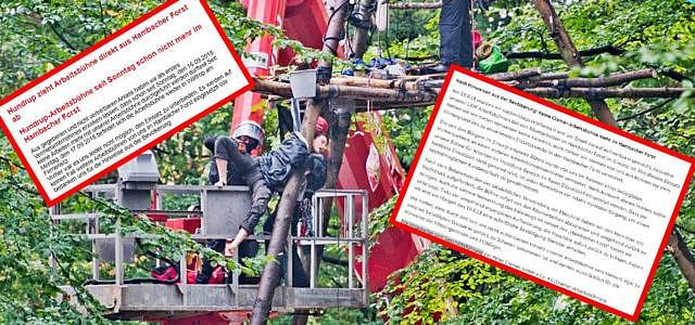 Hambacher Forst Hebebühnen Unternehmen Boykott