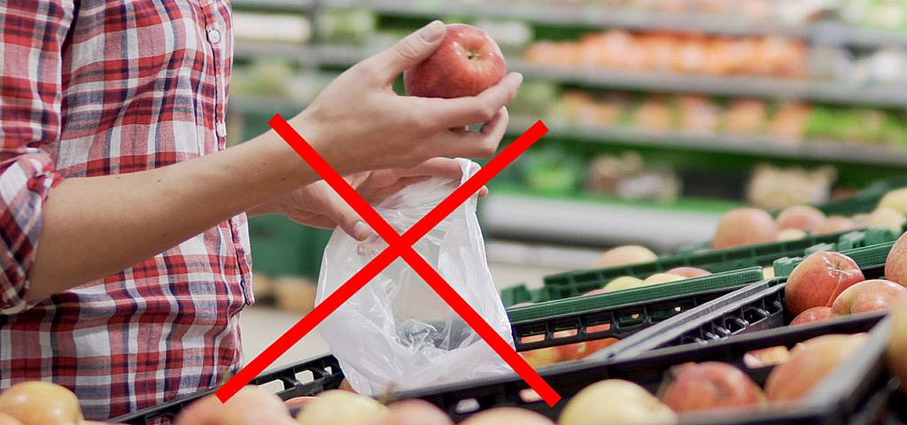 Supermarkt Plastik Plastiktüte Obst Gemüse Alnatura Knotenbeutel