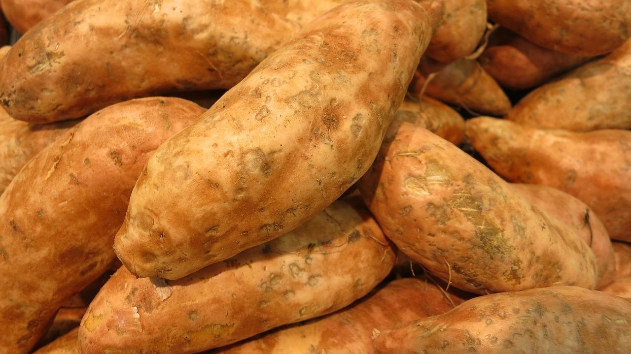 Süßkartoffeln ergeben zusammen mit Kichererbsen einen leckeren, veganen Patty.